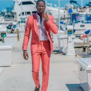 Mercan Rahat Erkekler 2019 Slim Fit Düğün Smokin Şal Yaka Damat Giymek Suits 2 ADET Damat Sağdıç Balo Blazer Suits