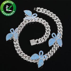 Hip Hop mens jóias de luxo designer de borboleta colar para fora congelada cadeias Cuban Link de bling rapper diamante charme da moda homens mulheres acessórios