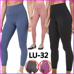 LU-32 Desgaste de cintura alta gimnasia de los deportes sólido elástico Leggings estado físico general completa medias de los pantalones de entrenamiento LU yogaworld pantalones muchachas de las mujeres pantalones de yoga
