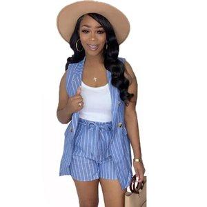 Vestido de dos piezas Set de verano Set de verano y shorts Conjuntos de combinación para mujeres Trendy Striped Blazer Office Traje Casual 2 Outfits
