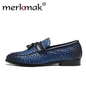 Merkmak Erkekler Deri Loafer'lar Retro Püskül Pastil Desen Ayakkabı Rahat Rahat erkeğin Düz Ayakkabı Üzerinde Kayma Büyük Boy 37-48 MX190713