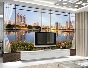 3d papel de parede personalizado foto murais estilo Europeu 3D estéreo janela da cidade paisagem TV fundo papel de parede parede para paredes 3 d sala de estar