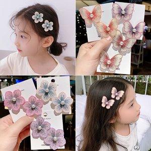 Titular meninas Etiqueta Flor Grampos Crianças Gripper cabelo lindo Barrettes headwears borboleta Kids Acessórios