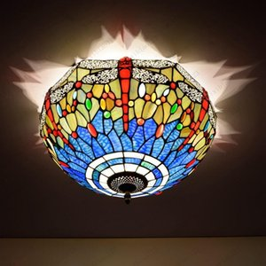 Hot sales Tiffany dragonfly stained glass lamp 16 inches living room bedroom ceiling lamps glass dome ceiling light Free shipping