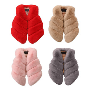 6 Farben-Kind-Plüsch-Weste Baby Art und Weise nette Pelz-Weste-Jacke Outwear Baby-warme Outfits Kinder Designer Bekleidung Mädchen M510