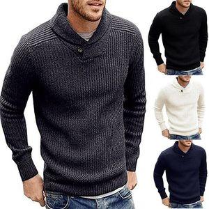 Mens camisola sólido de forma magro Camisolas mornas do outono camisolas pulôver botão de lapela Design Roupa para o homem camisola de malha masculinas Camisolas