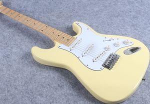 Кремово-желтый зубчатый кленовый гриф Strat ST Guitar Ингви Мальмстин Big Headstock ST 6-струнная электрогитара
