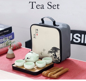 الصينية السفر الكونغ فو مجموعة الشاي السيراميك المحمولة ابريق الشاي Teaset الخزف ل gaiwan الشاي الكؤوس حفل شاي وعاء مع ترافل