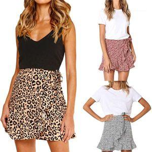 Skirt Casual Party Leopard Beach Mini Skirt Short Womens Sexy Chic Retro Summer Skirts High Waist Ruffles Evening Print Flared