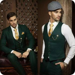 Hunter Yeşil Erkekler Yeşil Ordu Blazer Parti Damat Custom Made Slim Fit Örgün Balo Smokin Damat İyi Man Wear Takımlar Wedding Suits