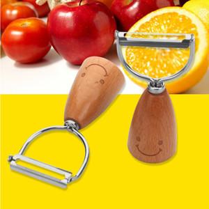 Cabos madeira aço inoxidável vegetal batata Peeler Sorriso Anti-Slip Madeira manusear instrumentos de cozinha fácil limpeza fruto Apple Peeler DH1241
