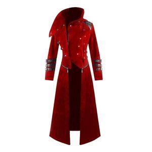 2019 NEW 남자 코스프레 의상 파티 빈티지 로얄 스타일 트렌치 코트 레트로 고딕 Steampunk 롱 코트 신사 복장