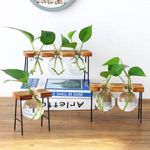 Nueva mesa de cristal de la vendimia Bonsai flor de la boda casera florero decorativo casa de madera Base Craft Bandeja de planta hidropónica jarrones regalos