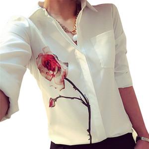 Gtpdpllt 2019 Autumn Rose Flower Printed Long Sleeve Blouse Women Turn Down Collar Chiffon Shirts White Women Clothes