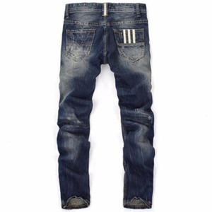 Designer Jeans rayé Imprimer Pantalons longues régulières mi taille Holes Hommes Pantalons Homme Vêtements droite Ripped Mens