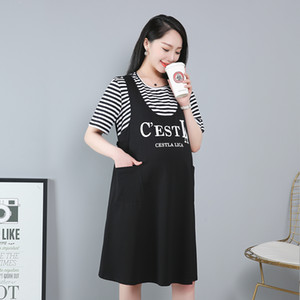 fake two-piece dress plus size maternity dress pregnant mother out clothing 3XL-6XL girls' oversized clothes summer
