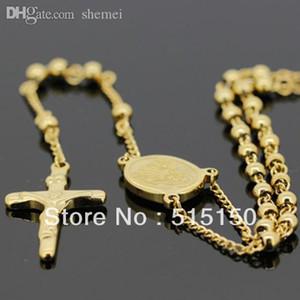 """도매 STAINLESS STEEL GOLD 묵주 목걸이 체인 (24 """"+ 5.3"""") 4mm / 22g"""