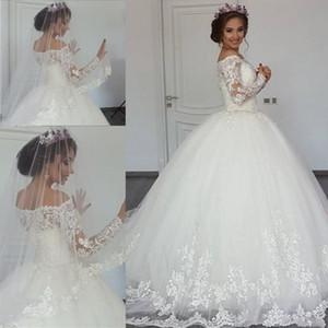 2020 Luxus-Spitze Ballkleid Hochzeitskleider weg von der Schulter lange Hülsen-Sweep Zug Brautkleider SpitzeApplique Plus Size African Brautkleider