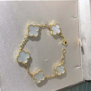 S925 pulsera del encanto de plata pura con cinco flores de Shell de la naturaleza de ágata negro para la joyería de las mujeres del regalo del envío libre PS5206