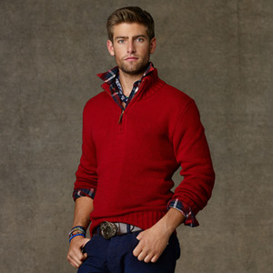 NEW RL Size M-XXL 2021 New High Quality polo Men's Twisted Needle Sweater Knitted Cotton V-neck Sweater Pullover small horse Sweater Male