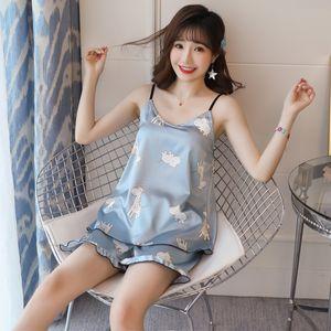 WAVMIT 2020 Summer Sleepwear Set New Thin Silk Sling Shorts Dee Sexy Pajama Set Sling Women's Home Cloth Pyjamas with Chest Pad