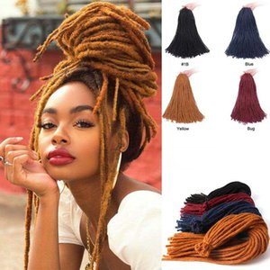 Synthetic Braiding Hair Extensions Dreadlocks Braids Single Color Yellow Burgundy Blue Soft Straight Faux Locs Crochet Braids Hair For Women