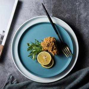 Керамические тарелки говядины плита Посуда Круглый Сплошной цвет Десерт Блюдо Простые и творческие Salad Cutter блюда