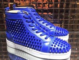 Elegance Spikes Sneaker Louisflats Мужчины Женщины Высокие Верхние Красные Нижние Кроссовки Кожаные Заклепки С На Открытом Воздухе Удобные Любители Тусовок Свадьба