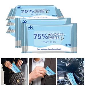 10pcs / pack Desinfección antisépticas Pads hisopos con alcohol toallitas húmedas de limpieza de la piel Cuidado de la esterilización de limpieza de tejidos toallitas húmedas