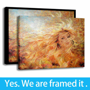 Autumn Wind Romantic Art Background Wall Decor Oil Painting Girl Print on Canvas - Ready To Hang - Framed