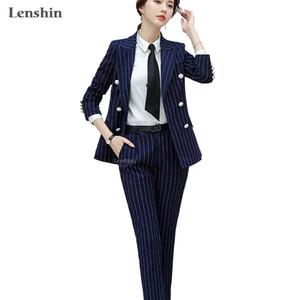 Lenshin Qualitäts-2-teiliges Set Gestreifte Formal Hosenanzug weich und bequem Blazer Büro-Dame Uniform Designs Frauen-Geschäft