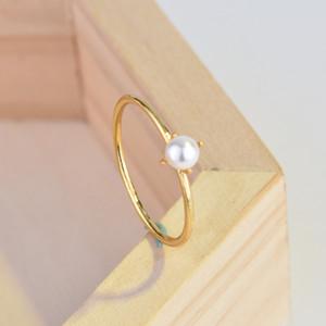 18K perlas Anillo princesa anillos de compromiso para las mujeres de la boda joyería Tamaño anillos de las 5-10 envío