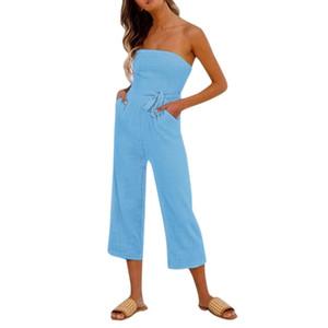 Womens Jumpsuit Summer Lady Strappy Soild Off-spalla lungo Pantalone Playsuits Tuta da donna Pagliaccetti Abiti da festa
