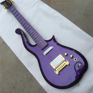 Spedizione gratuita Personalizzato Prince Cloud Metallico Purple Guitar Electric Guitar Elder Body, Neck Acero, Gold Truss Rod Cover Oro Symbol Symy Inlay, Wrap Aro