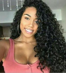 Synthetische Perücken Lange schwarze Frauen Perücke schwarz afrikanische Seite kleine lockige Haar Explosion Kopf Damen lange Locken FZP125