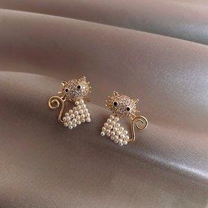 S1397 Hot Fashion Jewelry S925 Silver Post Earrings Cute Cat Stud Earrings