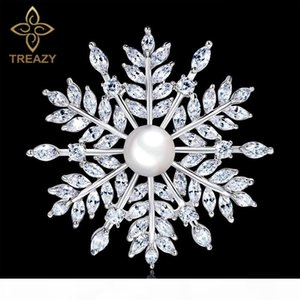 wholesale Luxury Cubic Zirconia Snowflake Wedding Brooch Pin Silver Color Pearl Brooches &Pins for Women Bridal Wedding Accessories