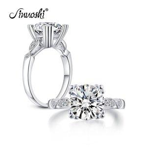 AINUOSHI 3.1 Carat Bague Cut ronde Simulé de fiançailles de diamant de mariage en argent sterling Bague Cat Claws Cornedrue Bijoux pour les femmes Y200106