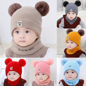 Newborn Kid Hat Baby Boy Girl Pom Hat Winter Warm Knit Crochet Beanie Cap Scarf Set Knitting Wool Hemming Caps 0-12 Months C800#