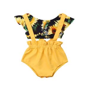 Младенческая девочка принцесса одежда лето новорожденный девочка подсолнечника футболки топы + подтяжки шорты 2 шт. наряды одежда 3-18М