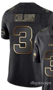 Buhar Sınırlı Siyah Altın Jersey Erkekler Seattle 3 forması Gömlek Tüm Takımlar Amerikan futbolu formaları 00