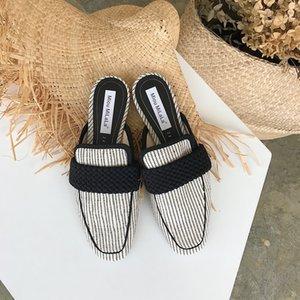 Fascinante2019 41 Otoño Will Code Semi Trailer Zapatos de mujer Baotou Flat Bottom Cool Drag Shoe
