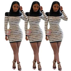 YZ1140 Europe et les explosions de mode d'Amérique femmes croisées frontalières lettre de commerce extérieur impression couture automne et hiver robe