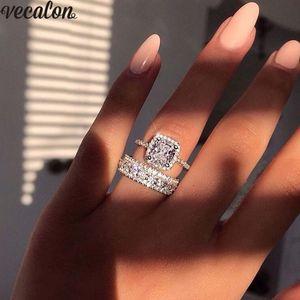 Vecalon Romantic Lovers Promise Ring 925 anillos de la venda de la boda del partido de diamante para las mujeres de los hombres joyería del dedo