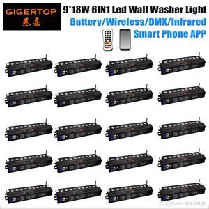 LED Wall Washer luce UV controllo del telefono che cambia DHL 20 disponibilità batteria Wireless DMX Bar RGBWA 9x18w 6in1 DJ Effetto colore wall washer