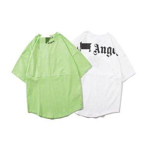 PALM beleza onda PA volta carta ANJOS impressão perder esportes casuais T-shirt homens e mulheres em torno do pescoço manga curta