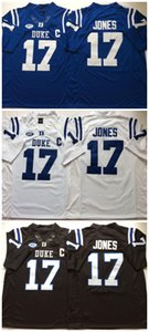 Üst kalite ! Ucuz Daniel Jones Duke Blue Devils Forması 17 Daniel Jones Forması Beyaz Mavi Siyah NCAA Kolej futbol formaları