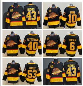 Nouveau 10 Pavel Bure Vancouver Canucks 50e Jerseys 43 Quinn Hughes 40 Elias Pettersson 6 Brock Boeser 53 Bo Horvat 89 Alexander Mogilny Jersey