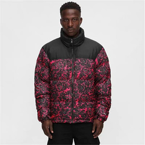 Heißer Verkauf Rose Print Down Jacke für Männer und Frauen Mode Gepolsterte Down Jacket Jacke Kann versteckt sein