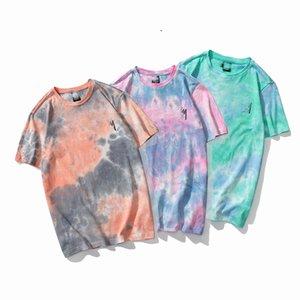 de 2020 nuevos hombres del diseñador camiseta 100% carta de color degradado de color de alta calidad de algodón camiseta de costura del color del logotipo de las señoras de los hombres de la camisa S-XXL